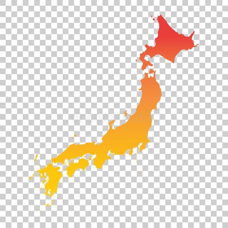 ηπειρωτικός χάρτης της Ιαπωνίας πολιτικός Ζωηρόχρωμη πορτοκαλιά διανυσματική απεικόνιση απεικόνιση αποθεμάτων