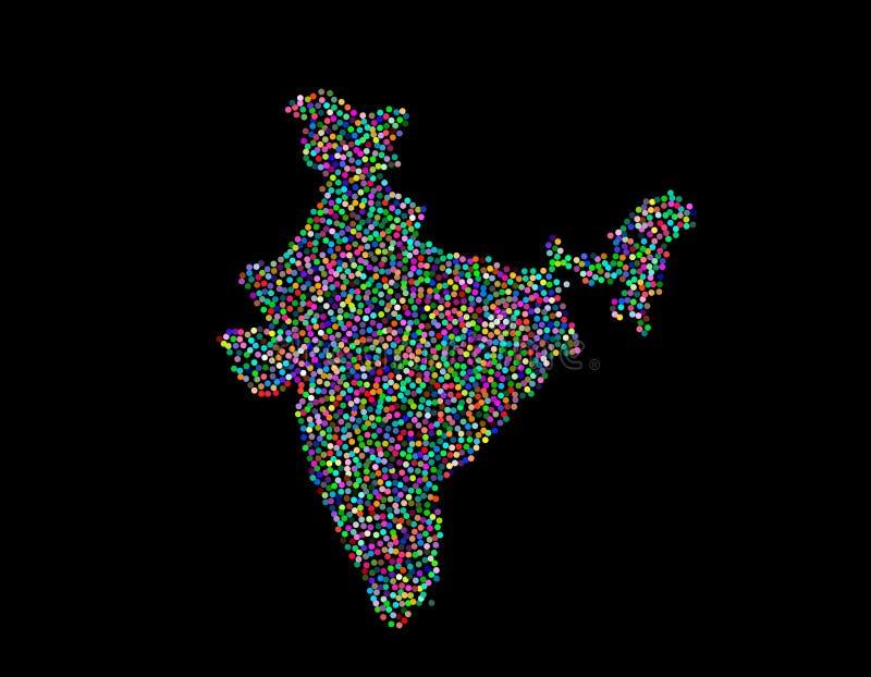 ηπειρωτικός χάρτης της Ινδίας πολιτικός Απομονωμένος στη μαύρη ανασκόπηση επίσης corel σύρετε το διάνυσμα απεικόνισης διανυσματική απεικόνιση