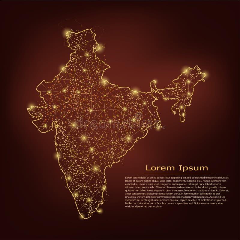 ηπειρωτικός χάρτης της Ινδίας πολιτικός Αφηρημένες κλίμακες γραμμών και σημείου πολτοποίησης στο σκοτεινό γεωμετρικό υπόβαθρο Καλ διανυσματική απεικόνιση