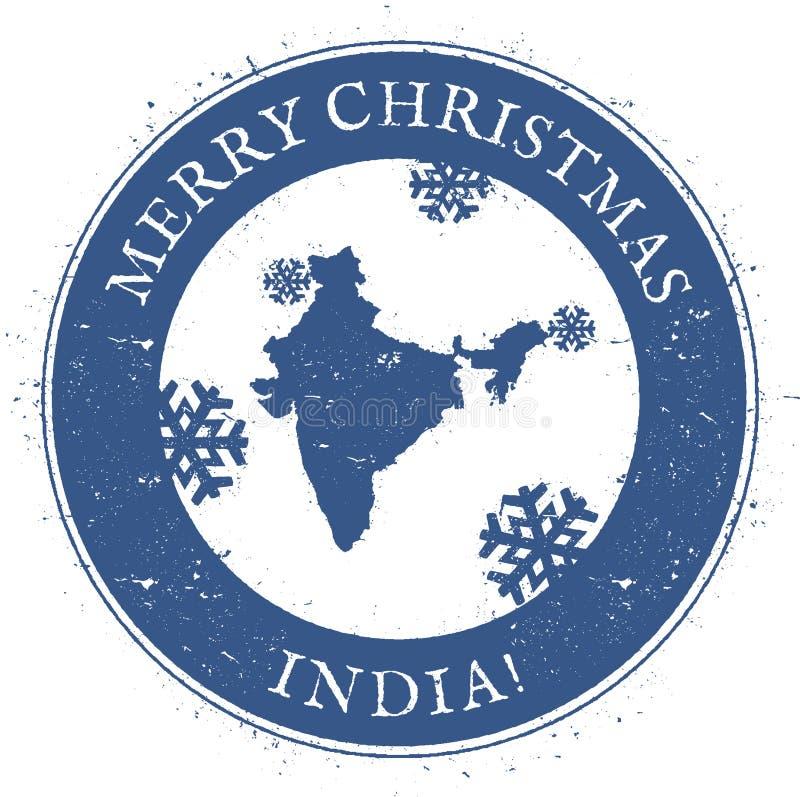 ηπειρωτικός χάρτης της Ινδίας πολιτικός Εκλεκτής ποιότητας γραμματόσημο της Ινδίας Χαρούμενα Χριστούγεννας διανυσματική απεικόνιση