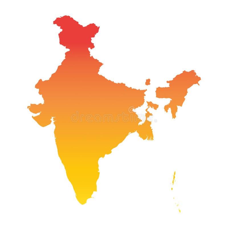 ηπειρωτικός χάρτης της Ινδίας πολιτικός Ζωηρόχρωμη πορτοκαλιά διανυσματική απεικόνιση απεικόνιση αποθεμάτων