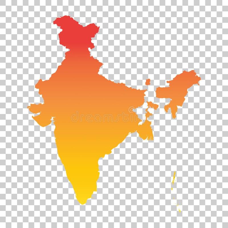 ηπειρωτικός χάρτης της Ινδίας πολιτικός Ζωηρόχρωμη πορτοκαλιά διανυσματική απεικόνιση ελεύθερη απεικόνιση δικαιώματος