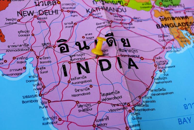 ηπειρωτικός χάρτης της Ινδίας πολιτικός στοκ φωτογραφία με δικαίωμα ελεύθερης χρήσης