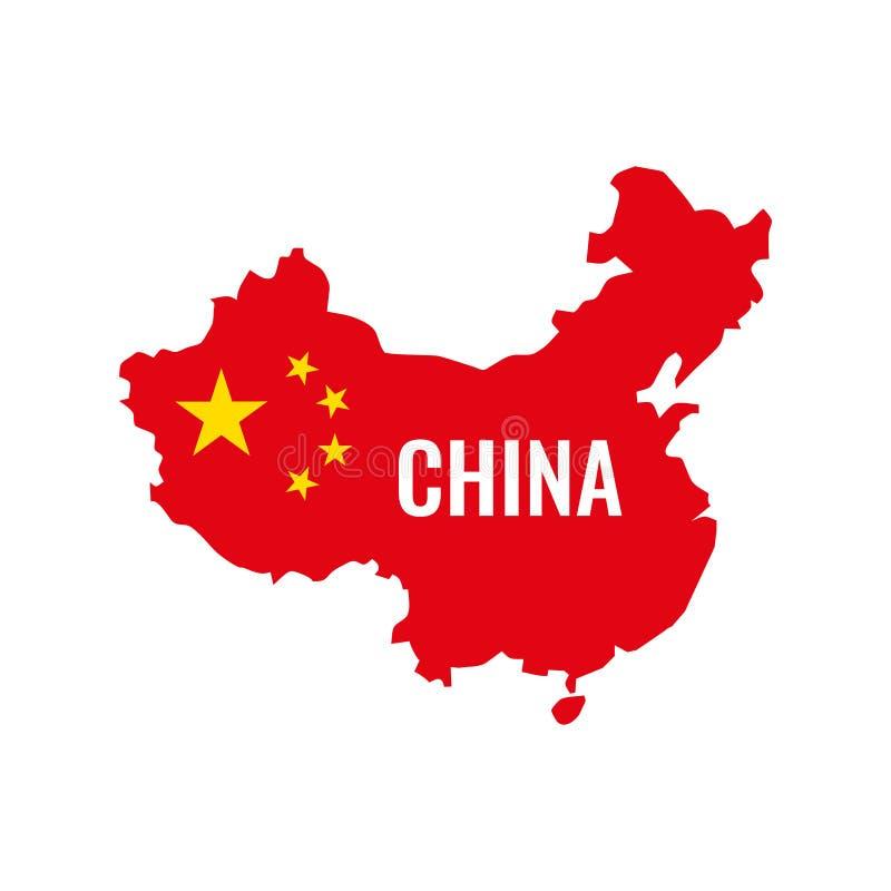 ηπειρωτικός χάρτης της Κίνας πολιτικός διαθέσιμο διάνυσμα ύφους γυαλιού σημαιών της Κίνας επίσης corel σύρετε το διάνυσμα απεικόν ελεύθερη απεικόνιση δικαιώματος