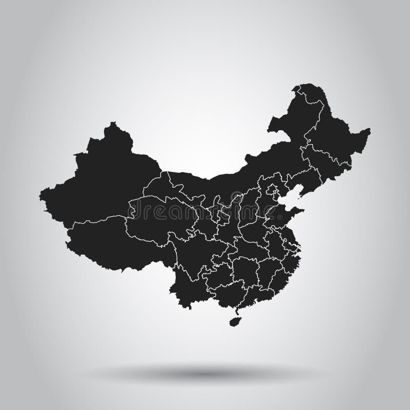 ηπειρωτικός χάρτης της Κίνας πολιτικός Επίπεδη διανυσματική απεικόνιση στο άσπρο υπόβαθρο ελεύθερη απεικόνιση δικαιώματος