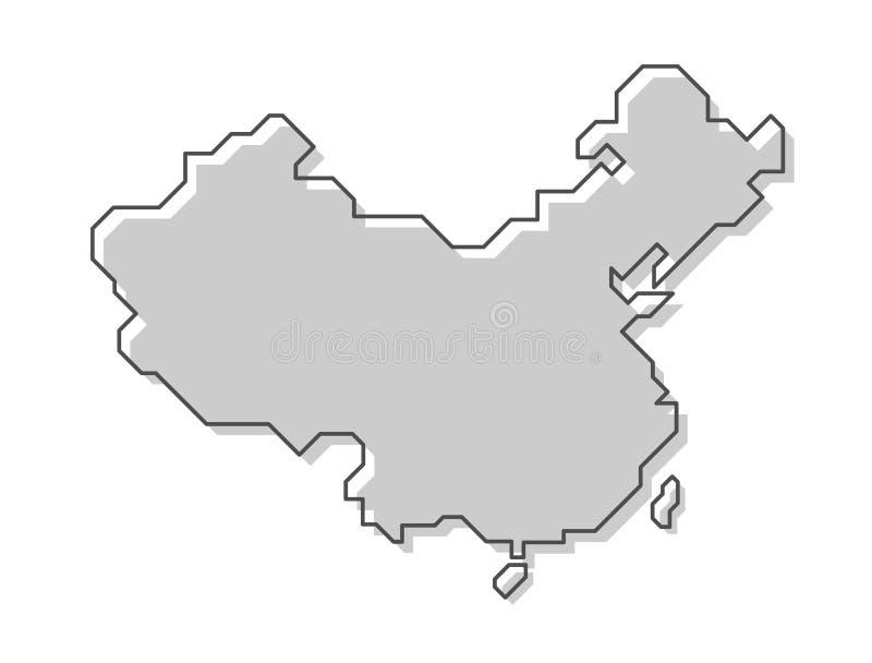 ηπειρωτικός χάρτης της Κίνας πολιτικός Σύγχρονο απλό ύφος γραμμών διάνυσμα ελεύθερη απεικόνιση δικαιώματος