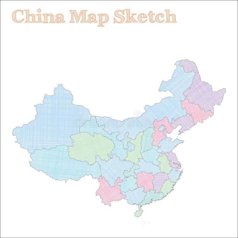ηπειρωτικός χάρτης της Κίνας πολιτικός απεικόνιση αποθεμάτων