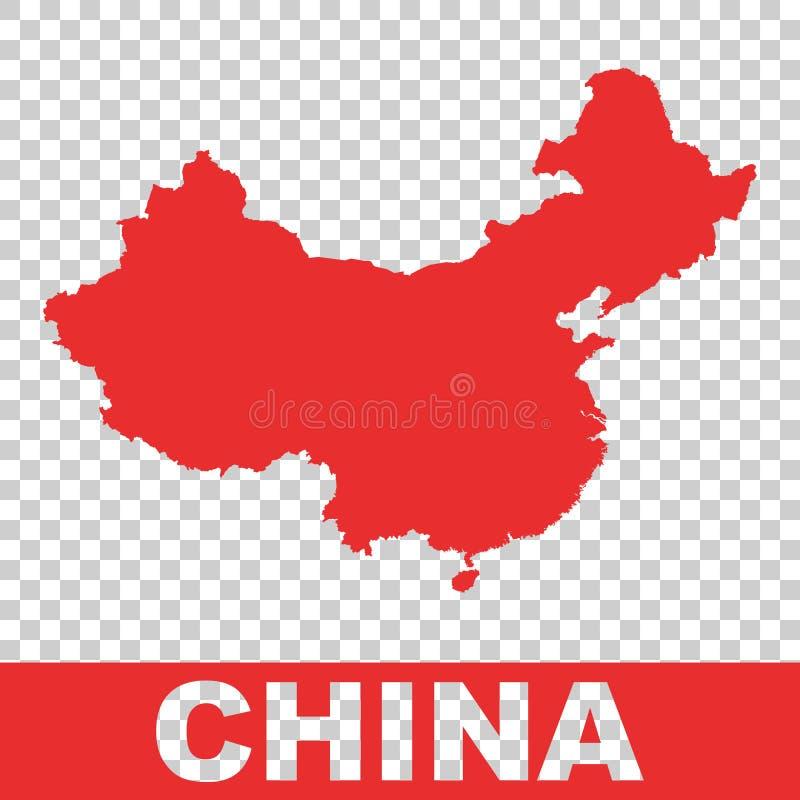 ηπειρωτικός χάρτης της Κίνας πολιτικός Ζωηρόχρωμη κόκκινη διανυσματική απεικόνιση στο απομονωμένο backgrou ελεύθερη απεικόνιση δικαιώματος