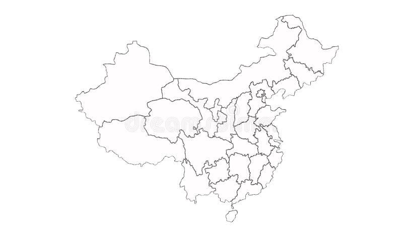 ηπειρωτικός χάρτης της Κίνας πολιτικός ελεύθερη απεικόνιση δικαιώματος