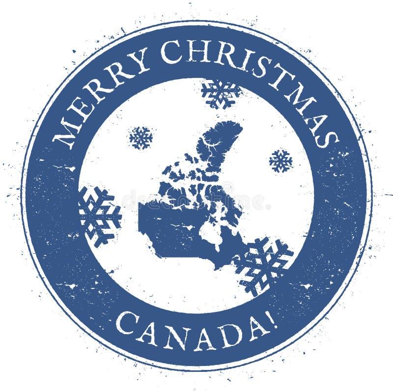 ηπειρωτικός χάρτης του Καναδά πολιτικός Εκλεκτής ποιότητας γραμματόσημο του Καναδά Χαρούμενα Χριστούγεννας διανυσματική απεικόνιση