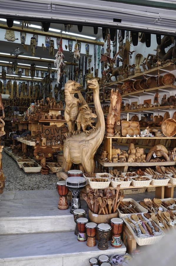Ηράκλειο, στις 3 Σεπτεμβρίου: Ξύλινο κατάστημα αντικειμένων ελιών από την πόλη Ηρακλείου στο νησί της Κρήτης στοκ εικόνα