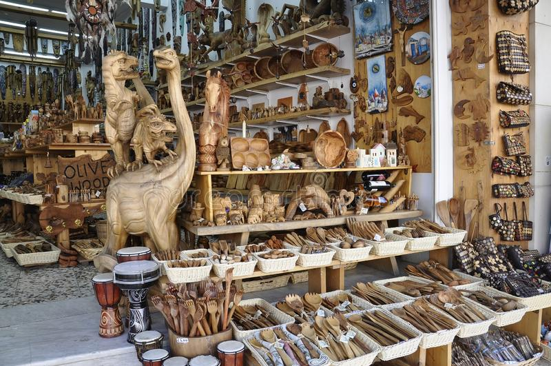 Ηράκλειο, στις 3 Σεπτεμβρίου: Ξύλινο κατάστημα αντικειμένων ελιών από την πόλη Ηρακλείου στο νησί της Κρήτης στοκ φωτογραφία με δικαίωμα ελεύθερης χρήσης