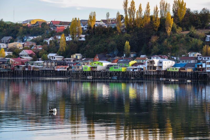 Ηρεμία και αντανακλάσεις, Chiloé νησί, Χιλή στοκ φωτογραφίες