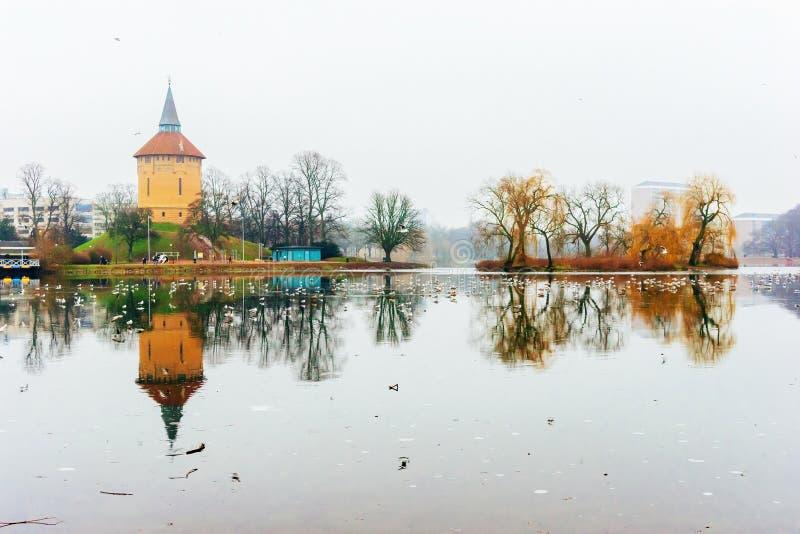 Ηρεμώντας σκηνές φύσης και χειμώνα γύρω από τη λίμνη στο κέντρο του Μάλμοε στη Σουηδία στοκ φωτογραφίες