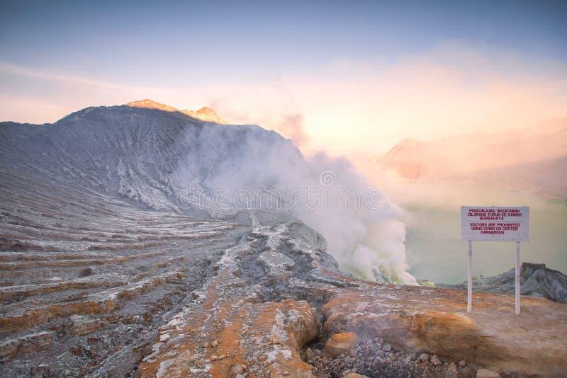 Ηφαίστειο Ijen Kawah της ανατολικής Ιάβας, Ινδονησία στοκ εικόνες
