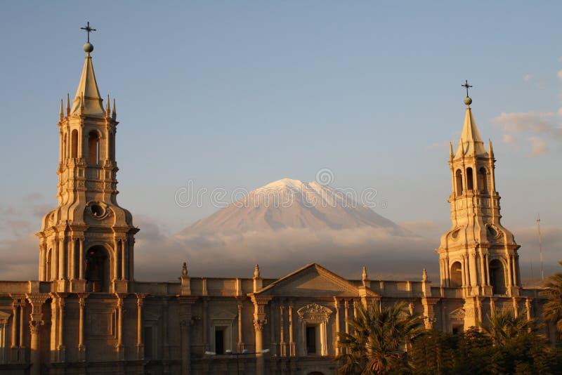 ηφαίστειο plaza misti armas de EL arequipa στοκ εικόνα