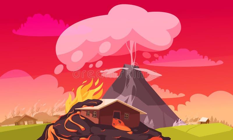 Ηφαιστειακή επίπεδη σύνθεση έκρηξης διανυσματική απεικόνιση