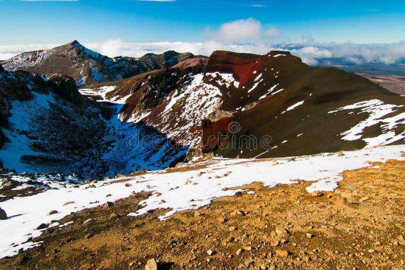 Ηφαιστειακό τοπίο, ηφαιστειακοί βράχοι και βουνά κοντά στην ΑΜ Tongariro, άποψη του κόκκινου ενεργού ηφαιστείου κρατήρων, εθνικό  στοκ εικόνες
