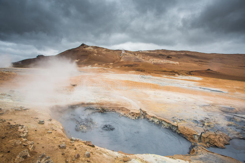 Ηφαιστειακό τοπίο, Namafjall Hverir Ισλανδία στοκ εικόνα με δικαίωμα ελεύθερης χρήσης