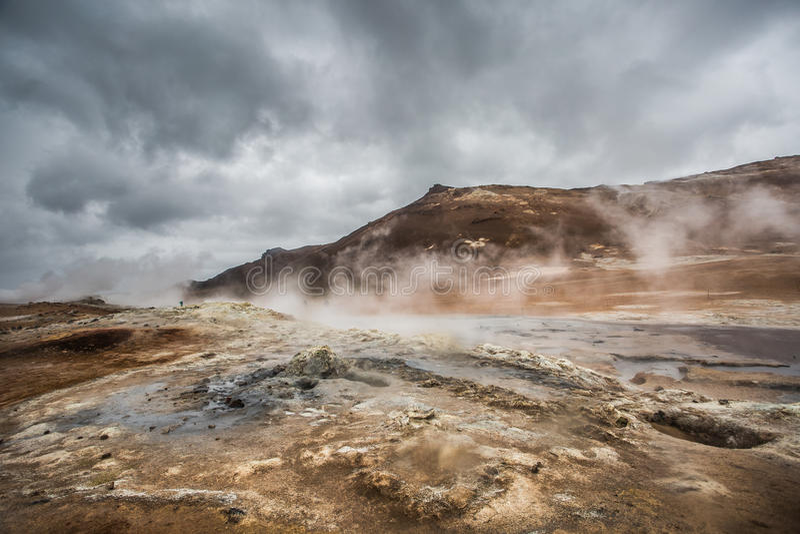 Ηφαιστειακό τοπίο, Namafjall Hverir Ισλανδία στοκ φωτογραφίες