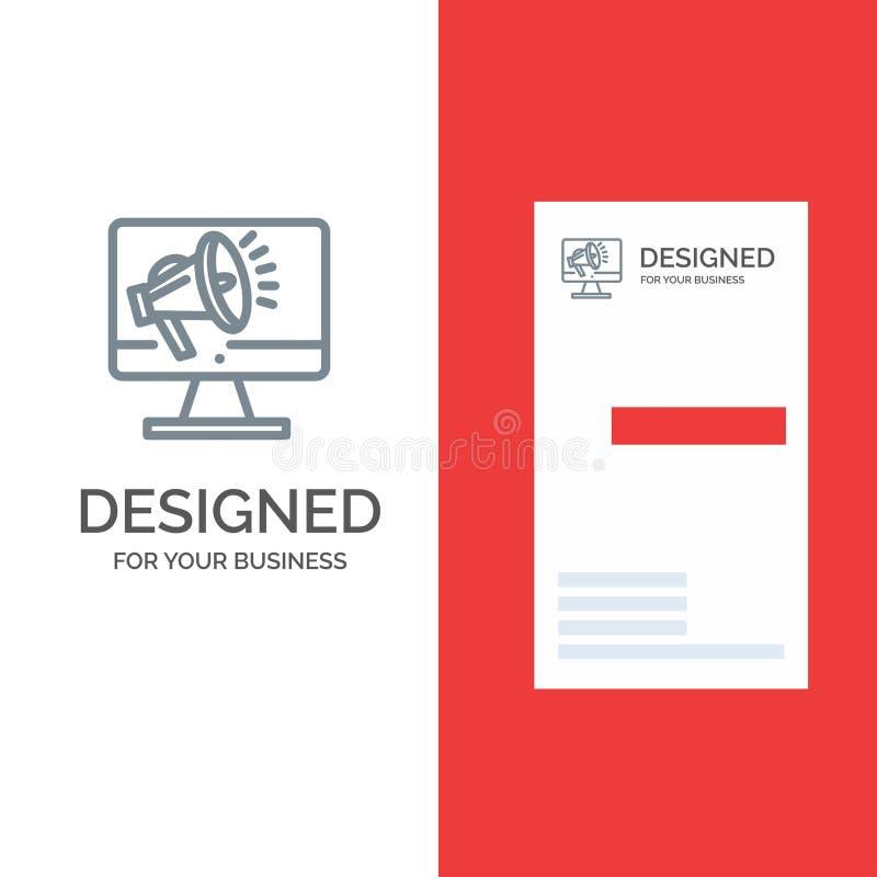 Ηχείο, μεγάλο μέγεθος, μεγάφωνο, ηχείο, λογότυπο Voice Grey Design και πρότυπο επαγγελματικής κάρτας ελεύθερη απεικόνιση δικαιώματος