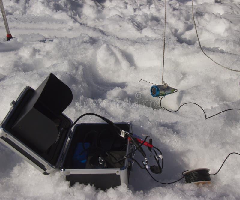 Ηχοβολητής για την αλιεία το χειμώνα στοκ φωτογραφίες