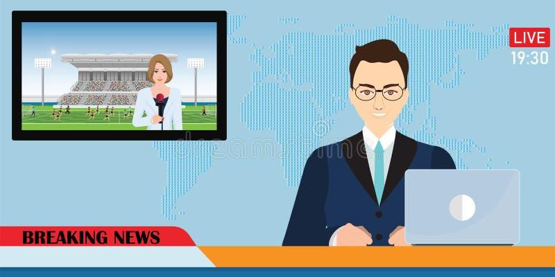 Η άγκυρα ειδήσεων που μεταδίδει ραδιοφωνικά τις ειδήσεις με έναν δημοσιογράφο ζει στην οθόνη απεικόνιση αποθεμάτων