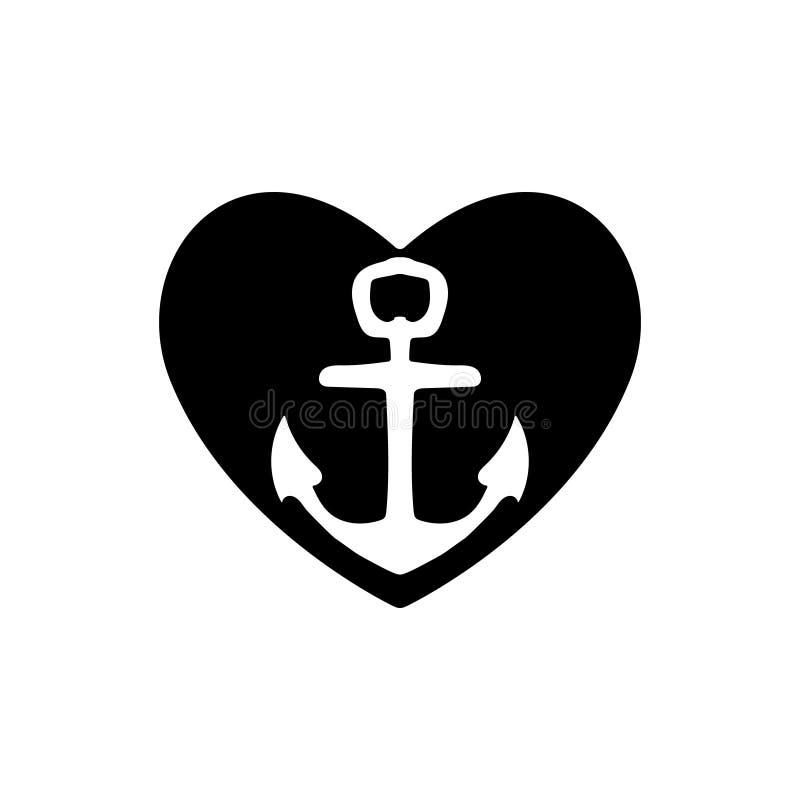 Η άγκυρα σκαφών με μια μαύρη καρδιά που συμβολίζει την αγάπη και το ειδύλλιο, ένας μήνας του μέλιτος ή οι βαλεντίνοι ταξιδεύουν ή διανυσματική απεικόνιση