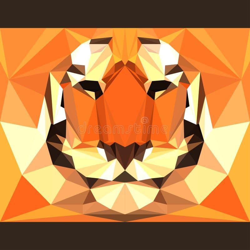 Η άγρια τίγρη κοιτάζει επίμονα προς τα εμπρός Αφηρημένη γεωμετρική polygonal απεικόνιση τριγώνων ελεύθερη απεικόνιση δικαιώματος