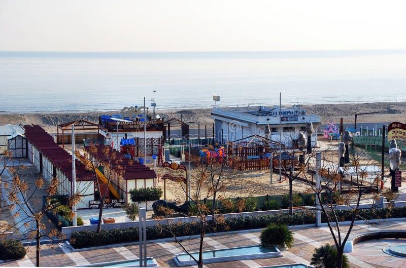 Η άδεια παραλία Riccione, Rimini, Ιταλία στοκ φωτογραφίες με δικαίωμα ελεύθερης χρήσης
