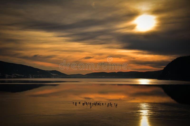 Η λάκκα de Joux στην Ελβετία στο ηλιοβασίλεμα στοκ εικόνα