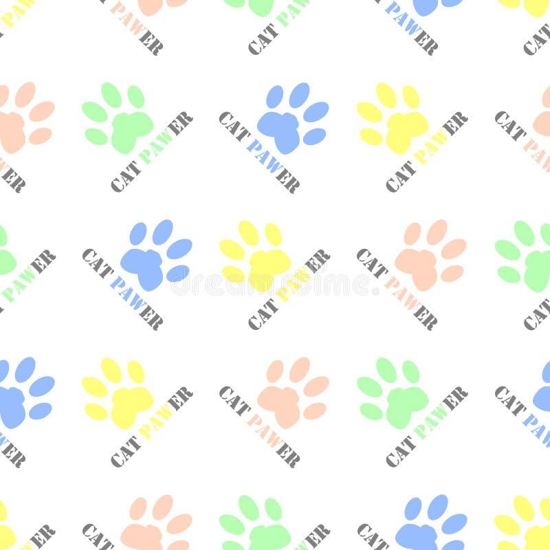 Η άνευ ραφής γάτα το ζωικό σχέδιο υποβάθρου σχεδίων διανυσματικό με τις ζωηρόχρωμες τυπωμένες ύλες ποδιών γατών και τη wordplay γ ελεύθερη απεικόνιση δικαιώματος