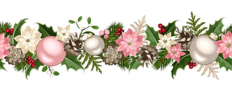 Η άνευ ραφής γιρλάντα Χριστουγέννων με το έλατο διακλαδίζεται, ρόδινες και ασημένιες σφαίρες, ελαιόπρινος, poinsettia, κώνοι και  διανυσματική απεικόνιση