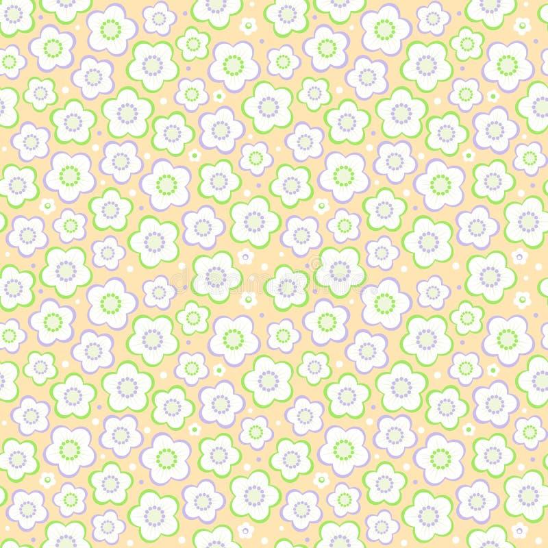 Η άνευ ραφής κρητιδογραφία χρωματίζει το floral υπόβαθρο ελεύθερη απεικόνιση δικαιώματος