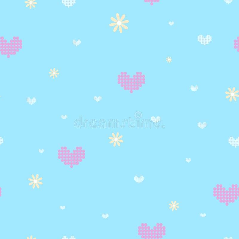 Η άνευ ραφής ρόδινη καρδιά και το κίτρινο λουλούδι επαναλαμβάνουν το σχέδιο στο φωτεινό μπλε υπόβαθρο διανυσματική απεικόνιση