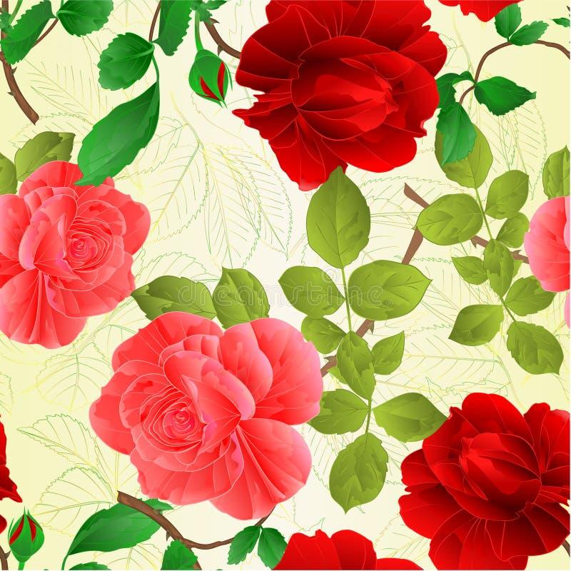 Η άνευ ραφής σύσταση αυξήθηκε ρόδινοι και κόκκινοι μίσχοι και αφήνει στο εκλεκτής ποιότητας υπόβαθρο φύσης τη διανυσματική απεικό διανυσματική απεικόνιση