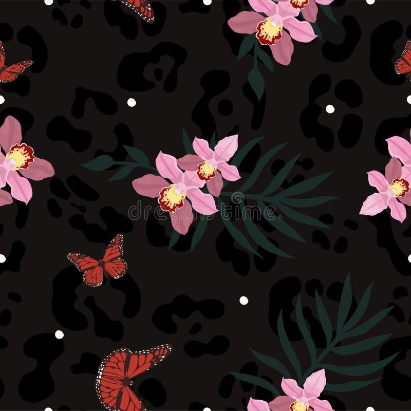 Η άνευ ραφής σύσταση του δέρματος πάνθηρων συνδύασε με το orchiaa, τις πεταλούδες και τα φύλλα φοινικών Διανυσματικό σχέδιο απεικόνιση αποθεμάτων