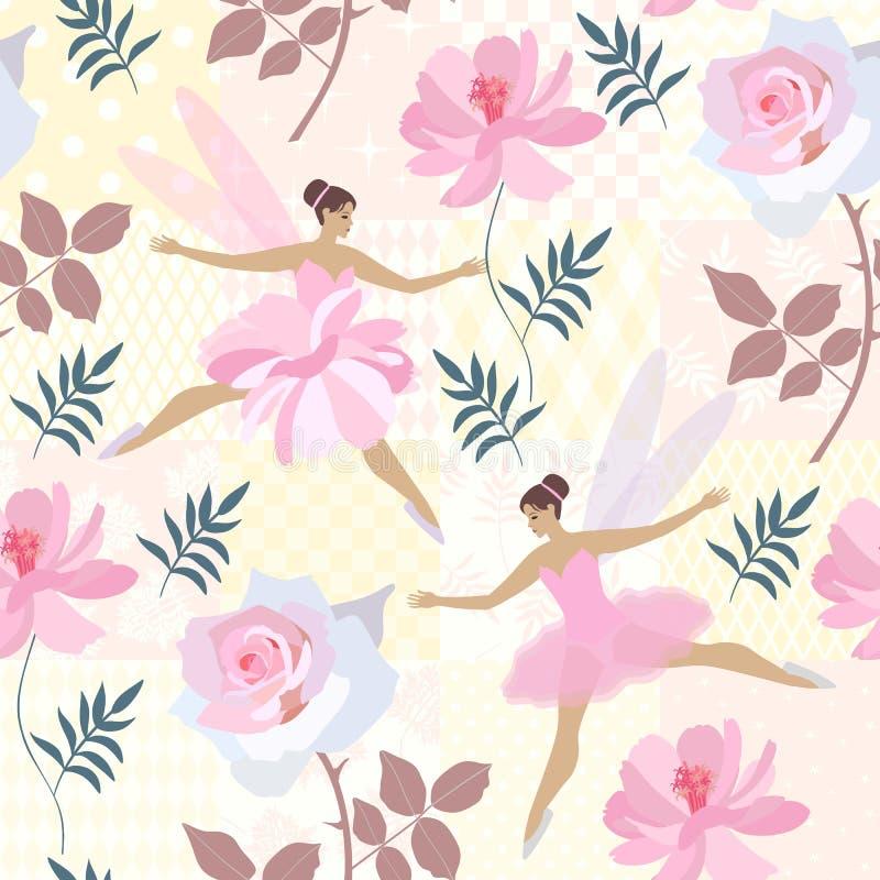 Η άνευ ραφής τυπωμένη ύλη για το ύφασμα, έγγραφο, ταπετσαρία με τις χαριτωμένες νεράιδες, τα ρόδινα τριαντάφυλλα και τον κόσμο αν απεικόνιση αποθεμάτων