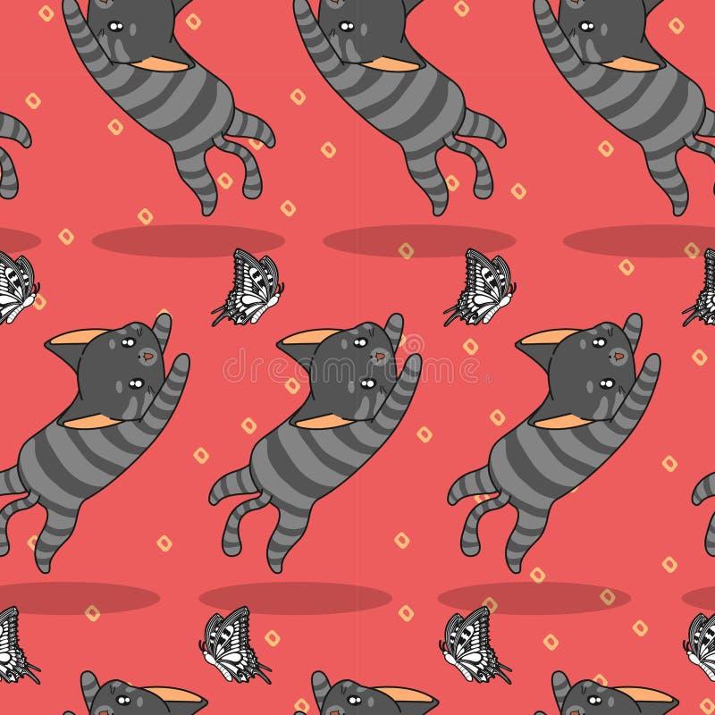 Η άνευ ραφής χαριτωμένη γάτα πιάνει το σχέδιο πεταλούδων διανυσματική απεικόνιση