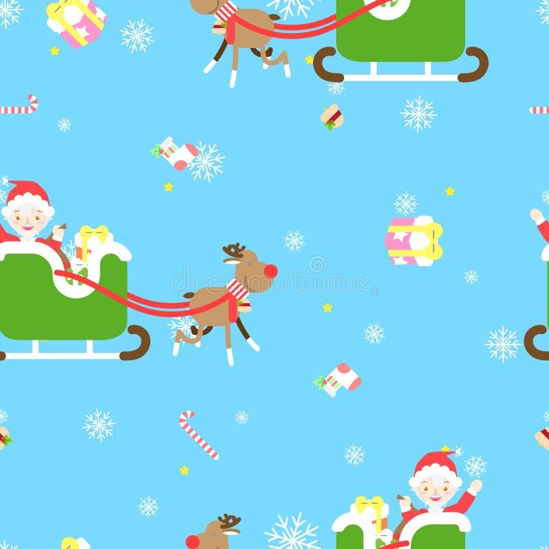 Η άνευ ραφής Χαρούμενα Χριστούγεννα και καλή χρονιά με χαριτωμένο Άγιο Βασίλη, τάρανδος, δώρο παρόν στη χειμερινή εποχή επαναλαμβ ελεύθερη απεικόνιση δικαιώματος