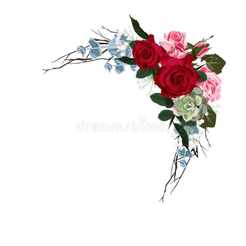 Η άνθιση αυξήθηκε με το ζεύγος των μικρών λουλουδιών Βοτανική διανυσματική απεικόνιση διανυσματική απεικόνιση