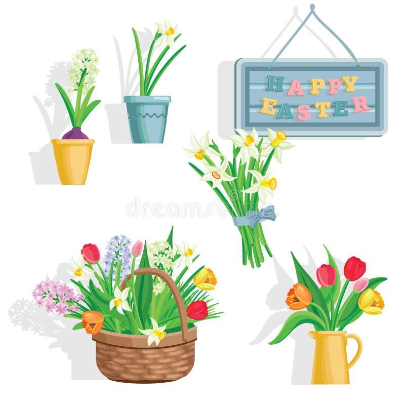 Η άνοιξη ανθίζει την ανάπτυξη στον κήπο, τα εικονίδια και τα στοιχεία συνόρων στο λευκό ελεύθερη απεικόνιση δικαιώματος
