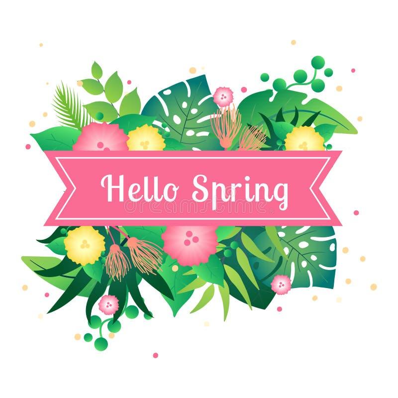 Η άνοιξη καρτών προτύπων γειά σου με τροπικό βγάζει φύλλα διανυσματική απεικόνιση
