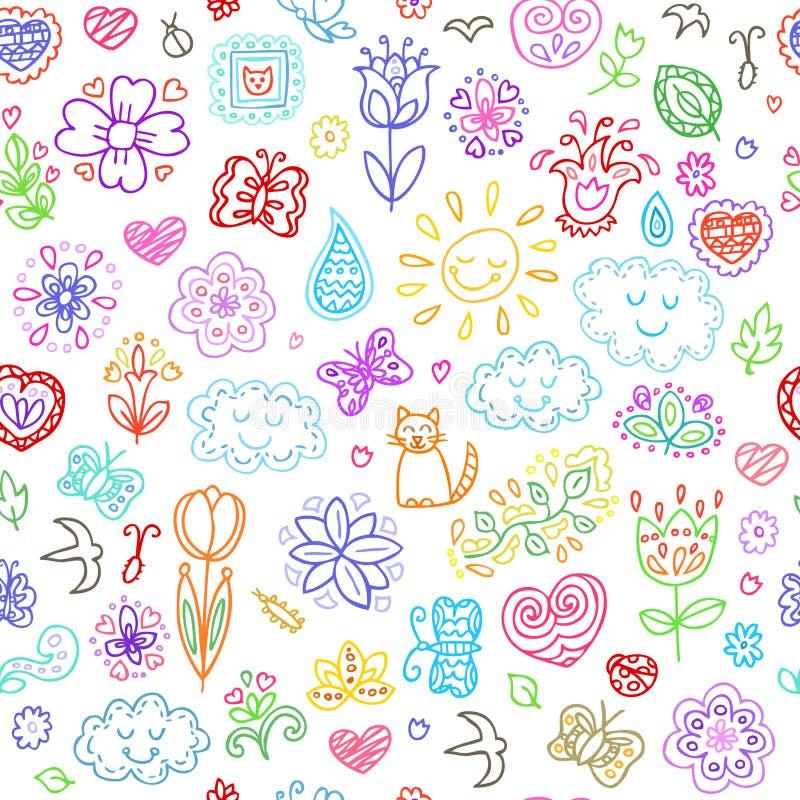 Η άνοιξη doodles έθεσε Το χέρι σύρει τα λουλούδια, ήλιος, σύννεφα, πεταλούδες ελεύθερη απεικόνιση δικαιώματος