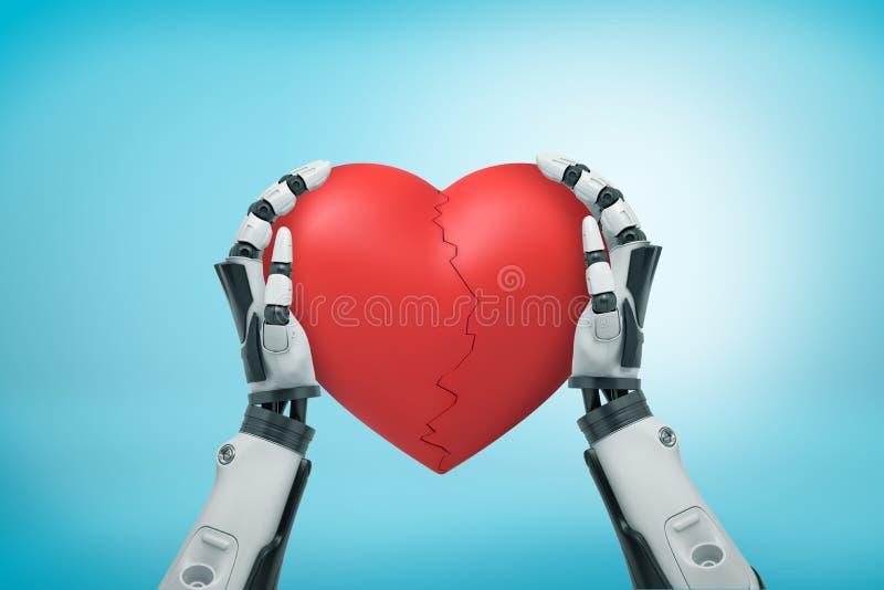 Η άποψη άνωθεν των γραπτών χεριών ρομπότ που κρατούν τη μεγάλη κόκκινη καρδιά βαλεντίνων ράγισε στο μισό στο ανοικτό μπλε υπόβαθρ στοκ εικόνα με δικαίωμα ελεύθερης χρήσης