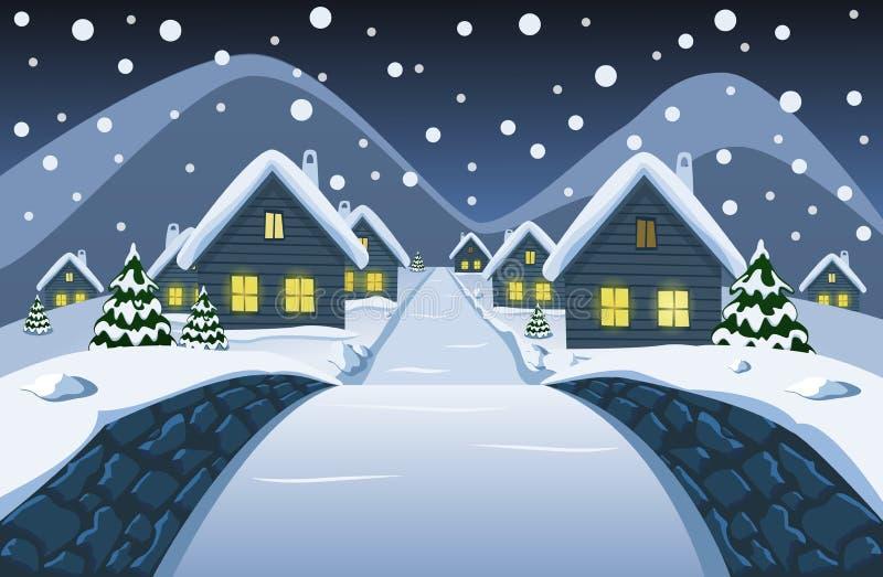 Η άποψη από τη μικρή γέφυρα πετρών στο χιονώδες χωριό νύχτας απεικόνιση αποθεμάτων