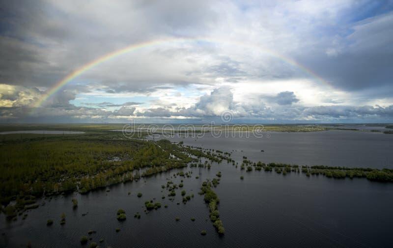 Η άποψη από τον αέρα κατά τη διάρκεια της πλημμύρας στοκ εικόνες