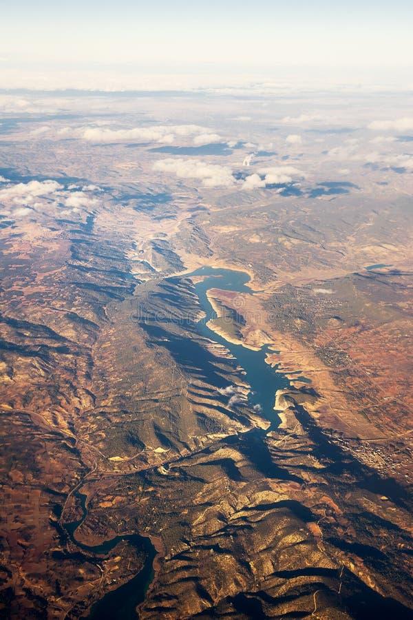 Η άποψη από το αεροπλάνο της τεχνητής λίμνης χαλά το de Καστίλλη στοκ φωτογραφία