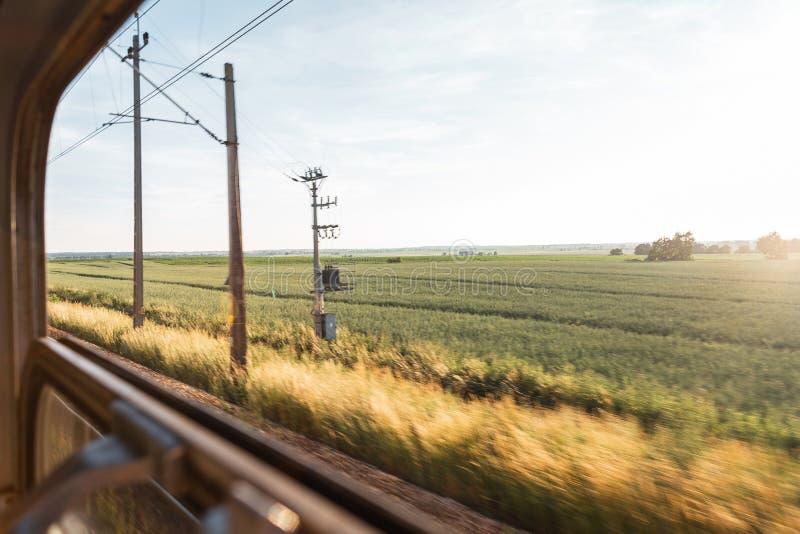 Η άποψη από το παράθυρο τραίνων που αγνοεί τον μπλε ηλιόλουστο ουρανό και τον πράσινο τομέα r στοκ φωτογραφίες με δικαίωμα ελεύθερης χρήσης