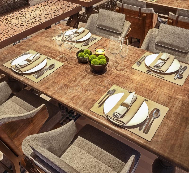 Η άποψη γωνίας της επιτραπέζιας οργάνωσης για το σύγχρονο αραβικό εστιατόριο, έννοια, ξύλινος στενοχωρημένος πίνακας, τρισδιάστατ απεικόνιση αποθεμάτων